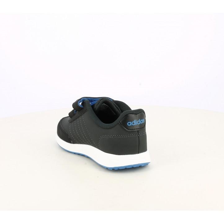 Zapatillas deporte Adidas gris oscuro con franjas en azul - Querol online