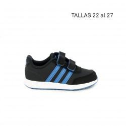 Sabatilles esport Adidas gris fosc amb franges en blau