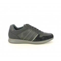 Zapatos sport Geox negras de cordones con detalles en gris - Querol online