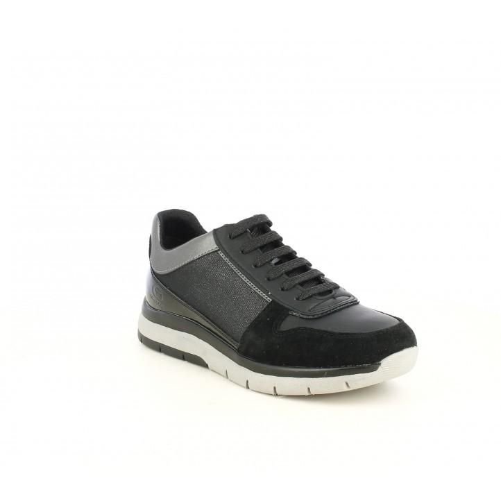 Zapatillas deportivas Geox negras con detalles en charol y tonos brillantes - Querol online