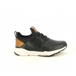 Zapatos sport Skechers negras de cordones con detalles en marrón