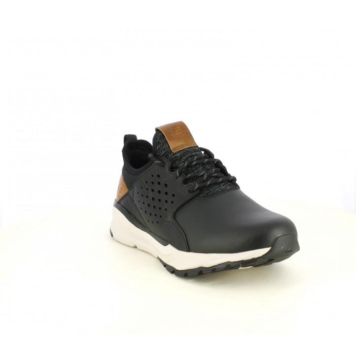 Zapatos sport Skechers negras de cordones con detalles en marrón - Querol online