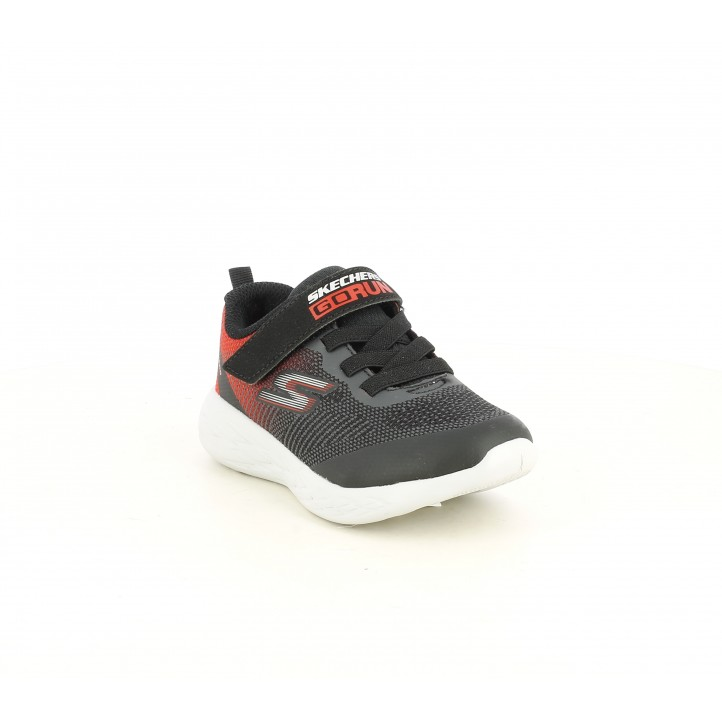 Zapatillas deporte Skechers negras y rojas con cordones eslásticos y velcro - Querol online