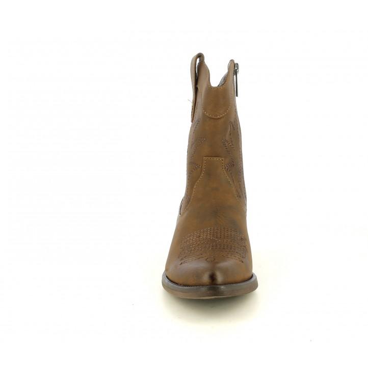 Botines Mustang marrones con bordado en la caña y puntera - Querol online