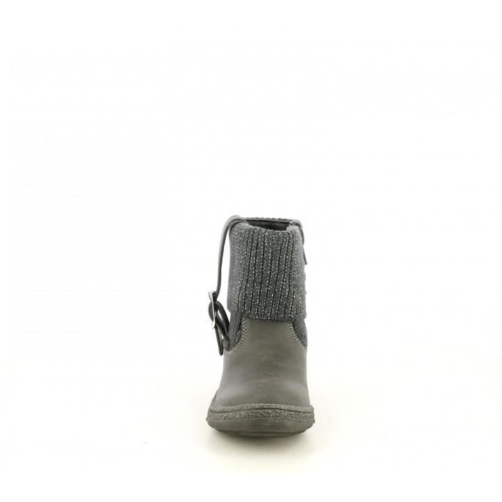 Botines K-Tinni grises con cremallera lateral y cuello dipo calcetin en tejido brillante - Querol online