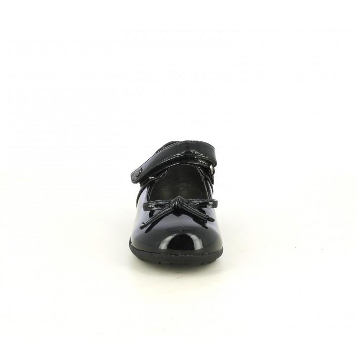 Ballarinas amb tira K-Tinni negre de xarol amb velcro i llaç - Querol online