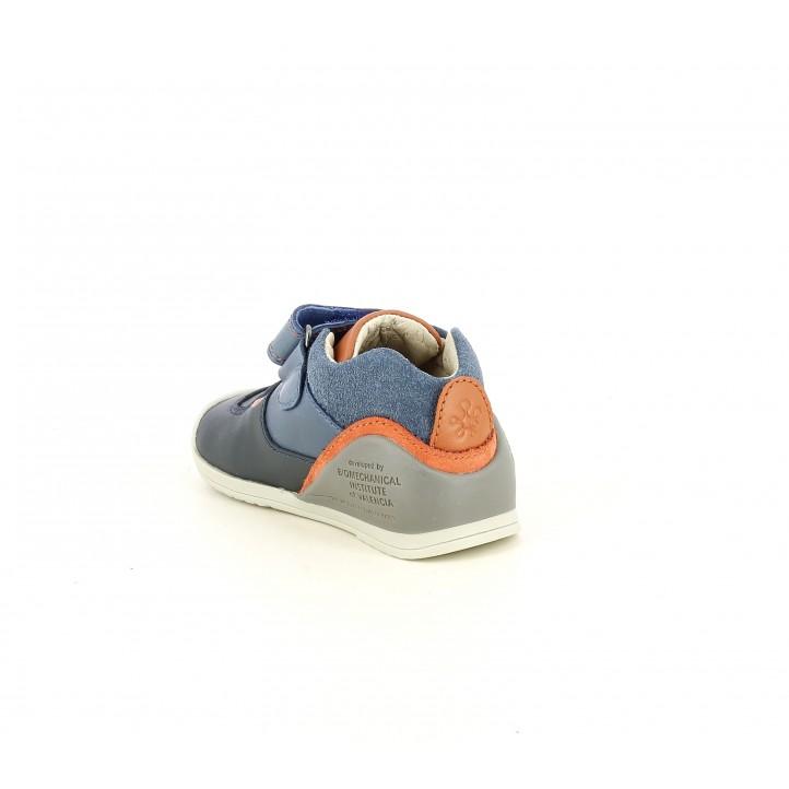 Zapatos Biomecanics azul marino con detalles en naranja, puntera reforzada - Querol online