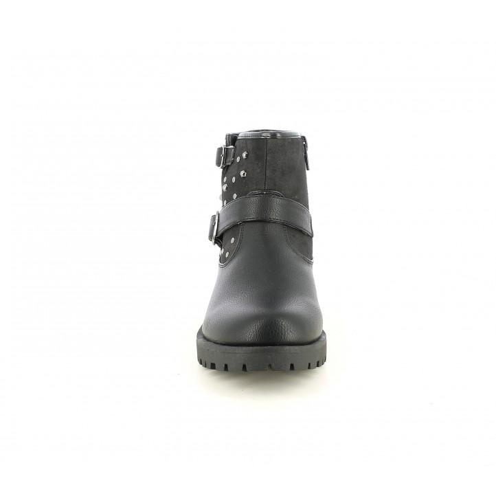 Botines K-Tinni negras con cremallera, dos velcros y adornos metalizados - Querol online
