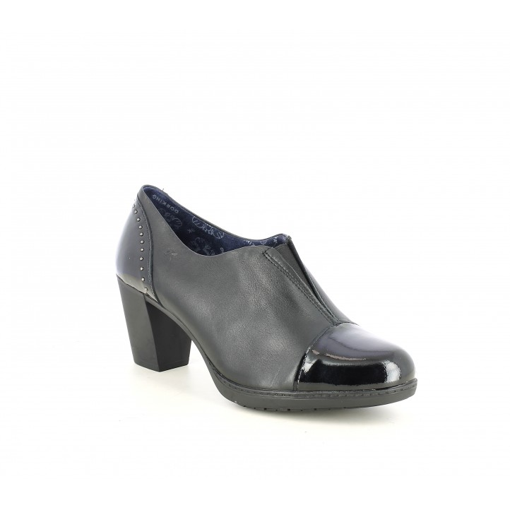 Zapatos tacón DORKING negros de piel combinados en charol - Querol online
