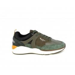 Zapatillas deportivas Pepe Jeans marrones y kakis con aplique en serraje - Querol online
