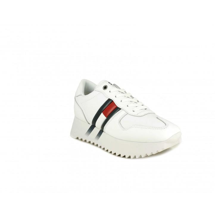 Zapatillas deportivas Tommy Hilfiger blancas de cordones con plataforma - Querol online
