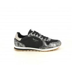 Zapatillas deportivas Pepe Jeans negras combinado con detalles metalizados
