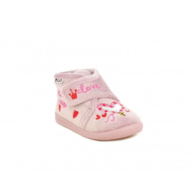 Zapatillas casa Vul·ladi rosas con velcro y corazón metalizado - Querol online
