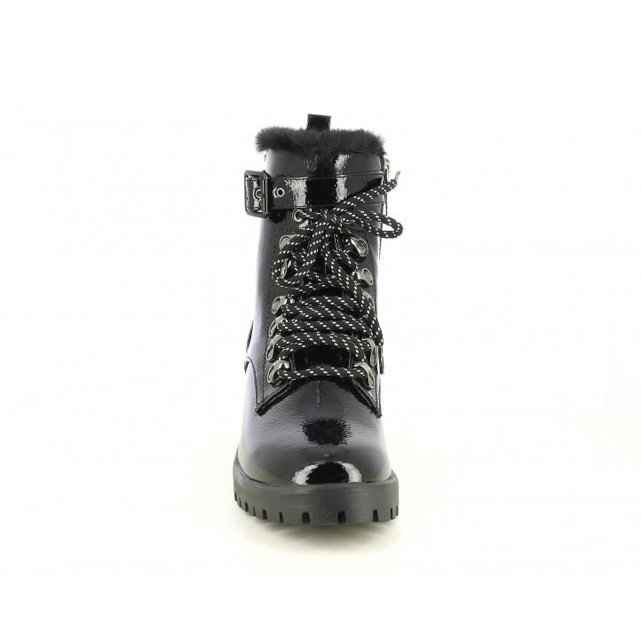 Botines tacón Pepe Jeans negras de charol con corndones y cremallera parte interior - Querol online