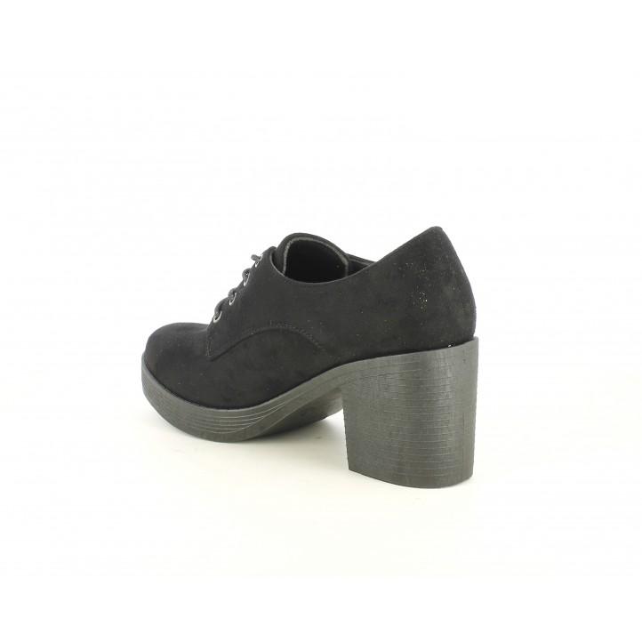 Zapatos tacón You Too negros de cordones con tacón de 6cm - Querol online