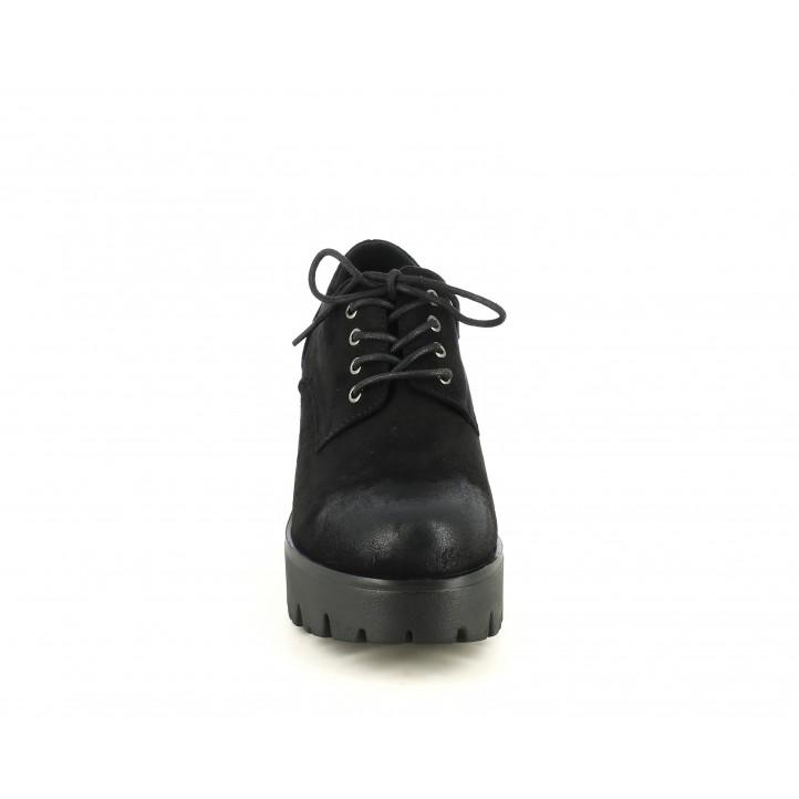 Zapatos tacón Mustang negros de cordones con tacon de 8cm - Querol online