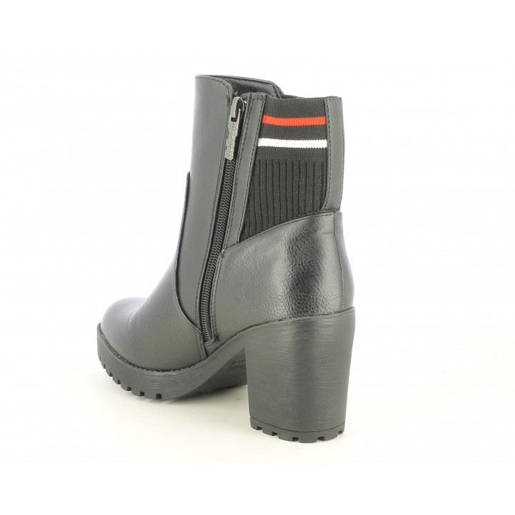 Botines tacón Refresh negros con cremallera , tacón de 8cm parte trasera textil elástico - Querol online