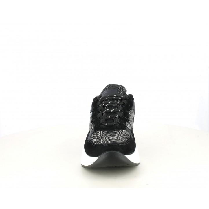 Zapatillas deportivas Xti negras con tejido brillante y cordones - Querol online