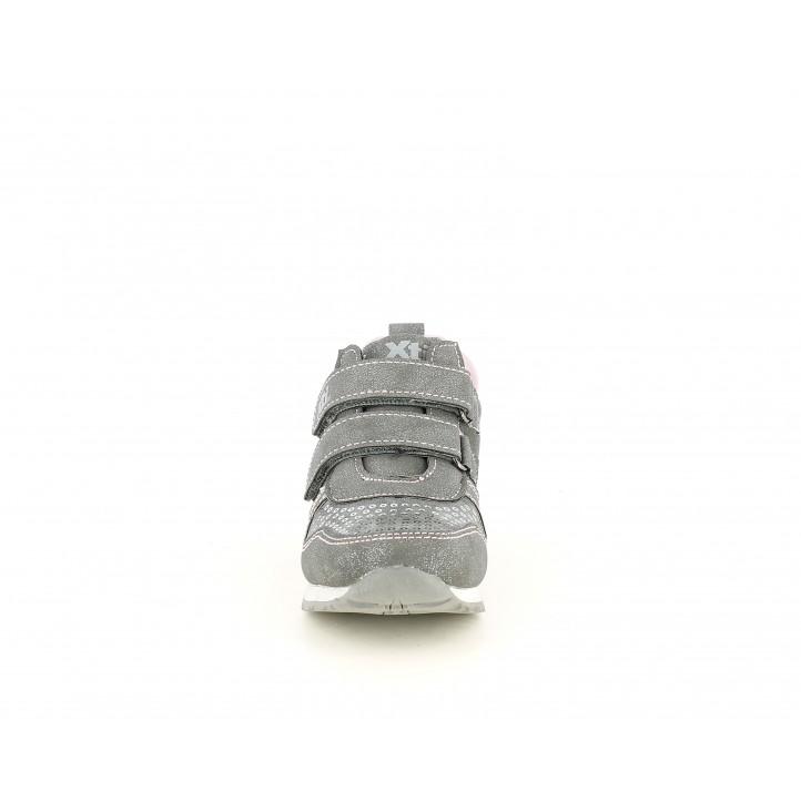Botins XTI KIDS grisos amb doble velcro y estrella metal-lizada - Querol online