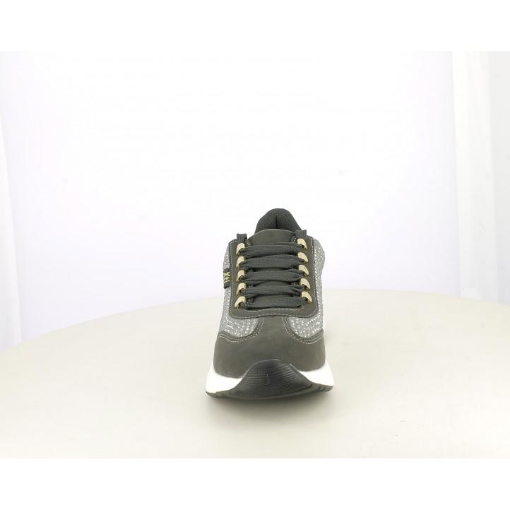 Sabatilles esportives Xti grisos amb cordons, sola amb taló de 4cm detalls amb peces metà-liques - Querol online