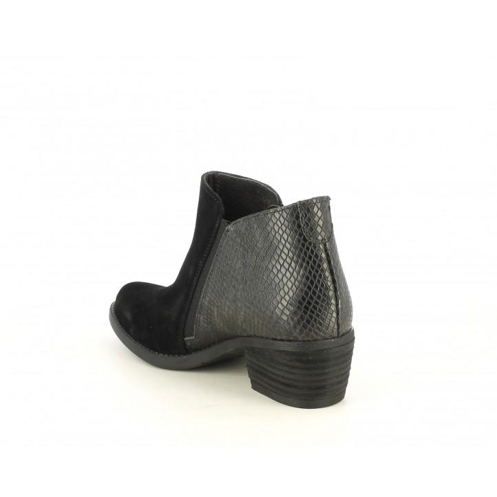 Botines tacón Redlove negros combinado en serraje y serpiente - Querol online