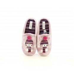 Zapatillas casa Vul·ladi rosas con diseño invernal - Querol online