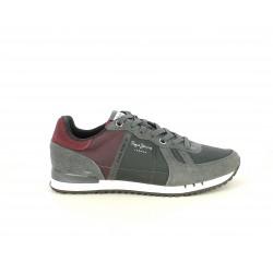 Zapatillas deportivas Pepe Jeans gris combinado en serraje y nailon con detalles en granate - Querol online