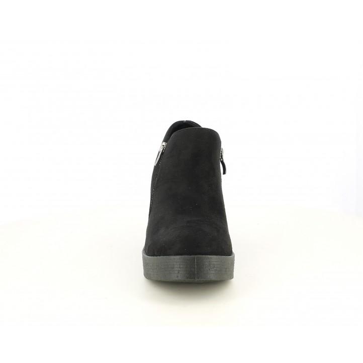 Zapatos tacón You Too negras con dos cremalleras - Querol online