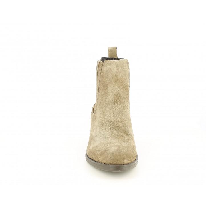 Botines tacón Redlove marron de serraje con elástico en tobillo - Querol online