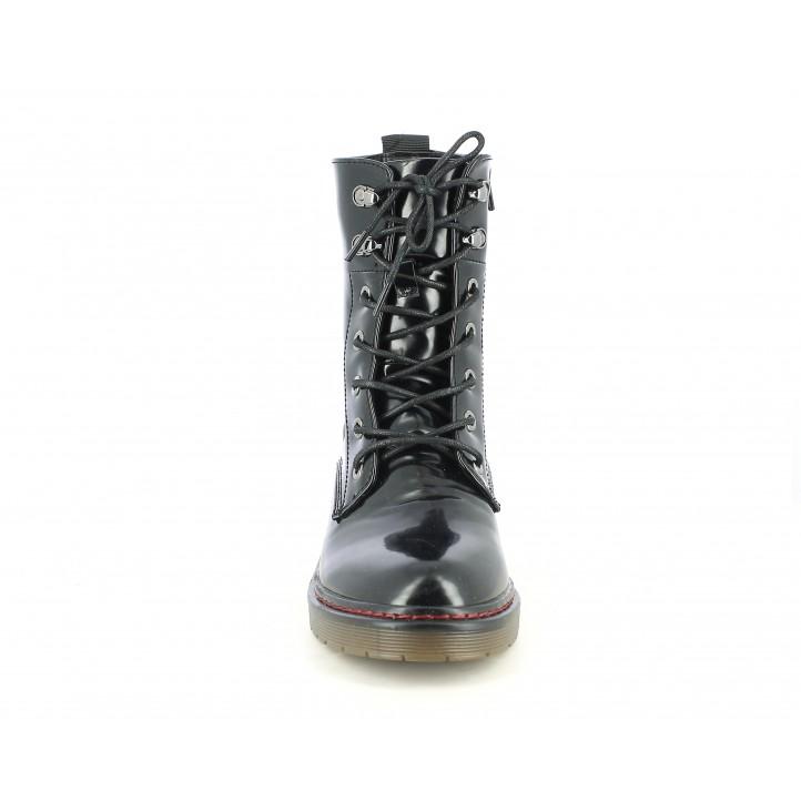Botines tacón Owel negro de piel brillante con cordones - Querol online