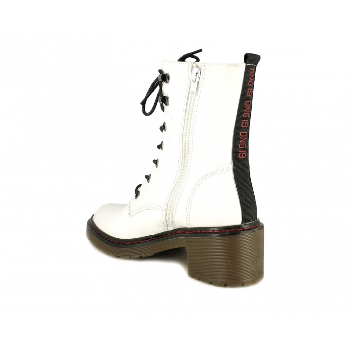 Botines tacón Owel blancas con cordones negros - Querol online