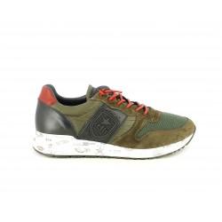 Zapatillas deportivas Cetti verde con marron y cordones rojos elásticos - Querol online