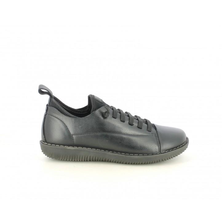 Zapatos planos Suite009 negrors con cordones elásticos - Querol online