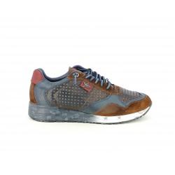 Zapatillas deportivas Cetti marrones y azules con cordones azules elásticos - Querol online