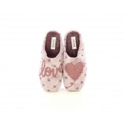 Zapatillas casa Vul·ladi rosas con corazones y letras love - Querol online