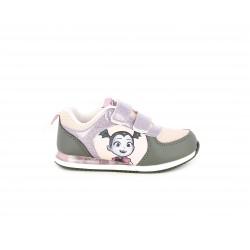 Zapatillas deporte Cerda rosa y gris con velcro de purpurina lila vampirina - Querol online