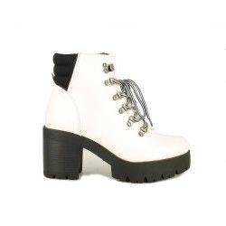 Zapatos tacón Owel blancas con suela negra y cordones - Querol online