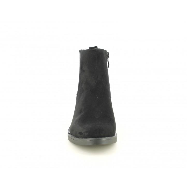 Botines tacón D'Angela negros de antelina con cremallera y elásticos - Querol online