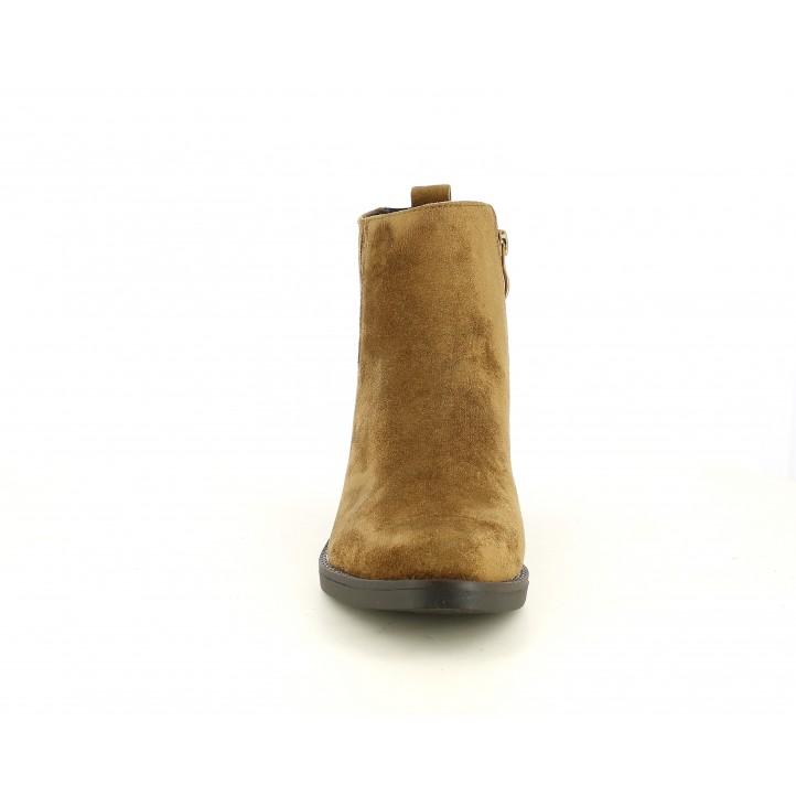 Botins de taló D'Angela marrons d´antelina amb cremallera i elàstics - Querol online