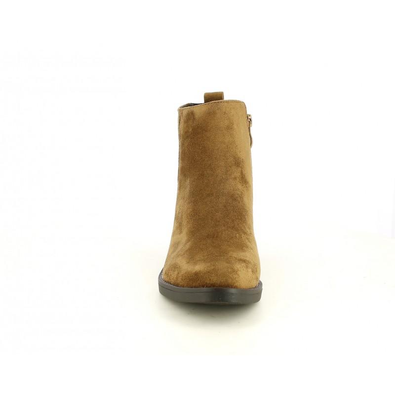 Botines tacón D'Angela marrón de antelina con cremallera y elásticos