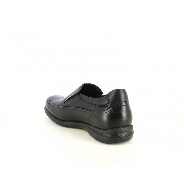 Zapatos vestir Fluchos negros con elásticos y plantillas extraibles - Querol online