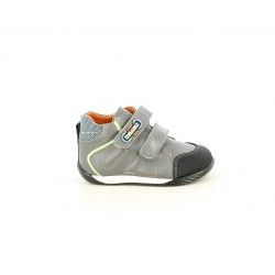 Botines Pablosky gris con doble velcro y puntra reforzada