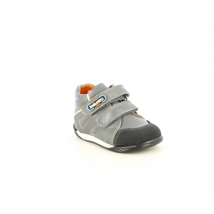 Botines Pablosky gris con doble velcro y puntra reforzada - Querol online