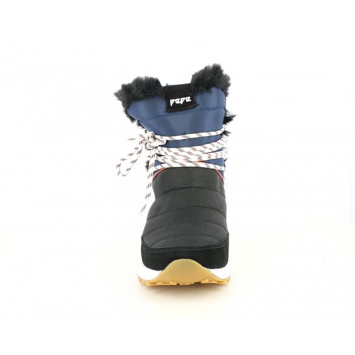 Zapatillas deportivas Pepe Jeans negras y azul marino con cordones blancos - Querol online