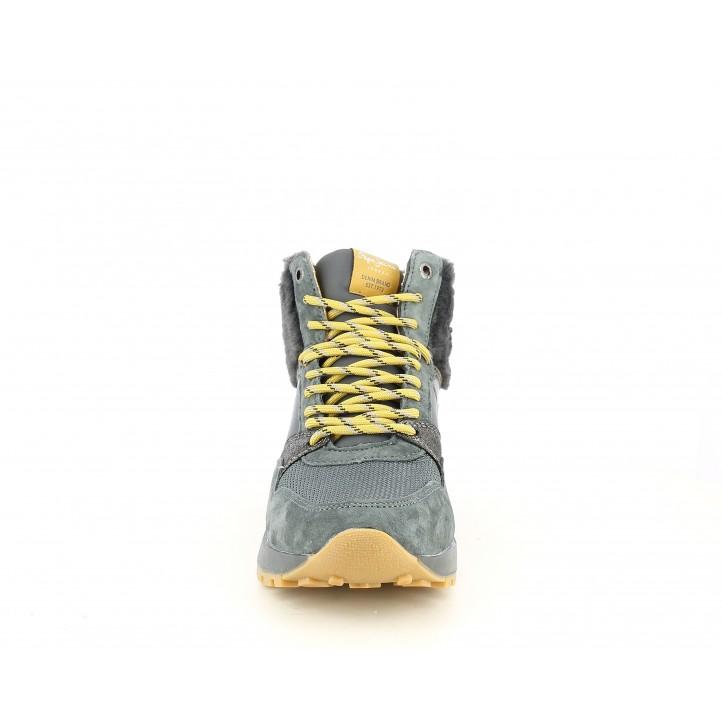 Zapatillas deportivas Pepe Jeans abotinadas con cordones amarillos y cuña de 3cm - Querol online
