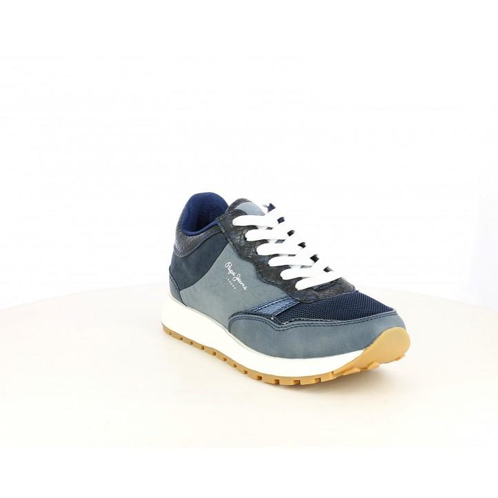 Sabatilles esportives Pepe Jeans blau marí combinat amb diferents textures - Querol online