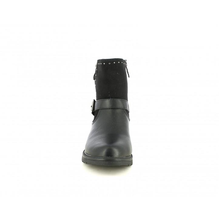Botines XTI KIDS negros con dos cremalleras, hevilla y adornos metálicos - Querol online