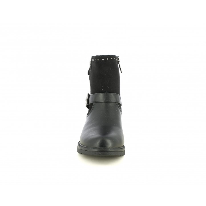 Botins XTI KIDS negres amb dos cremalleres, sivella i adorns metàl-lics - Querol online