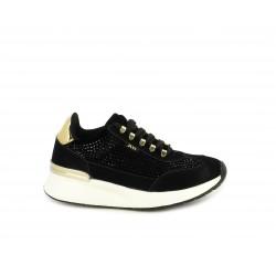 Zapatillas deportivas Xti negros con cordones, suela con cuña de 4cm detalles en piezas met - Querol online