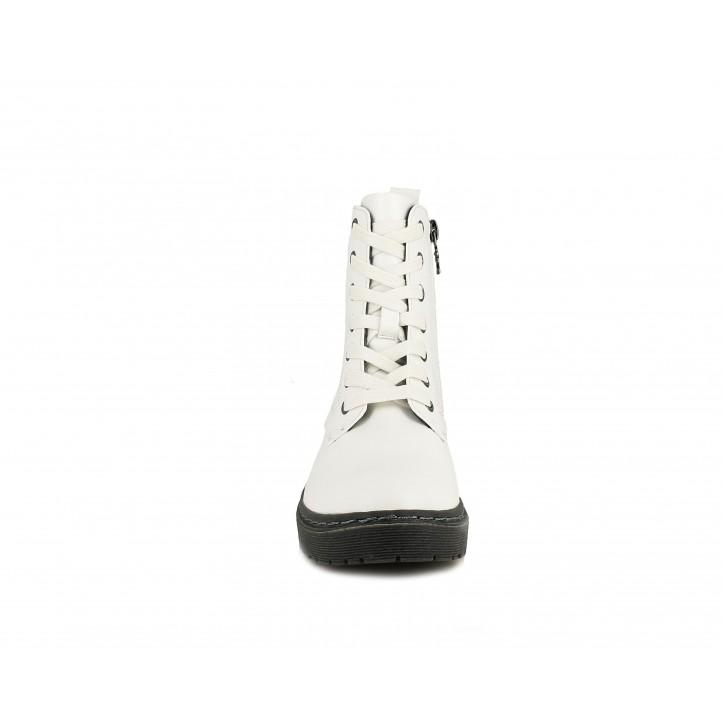 Botines XTI KIDS blancos con suela negra y cremallera interior con cordones - Querol online